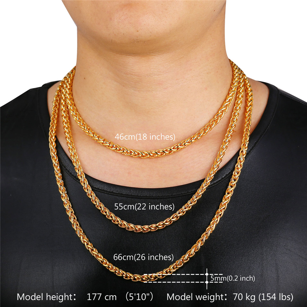 125e72bee54db US $5.99 50% OFF|U7 Rock Men Jewelry Gold Color Necklace Wholesale 6mm  Thick 55cm Round Wheat Chain Necklace N366-in Chain Necklaces from Jewelry  & ...