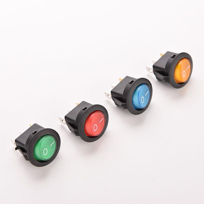 2 off Mains Rocker Switch SPST Green Red Green//Red