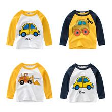 CALOFE/Осенняя футболка с рисунком автомобиля для мальчиков; Весенняя детская хлопковая одежда с длинными рукавами; Детские повседневные топы; футболки; детская футболка