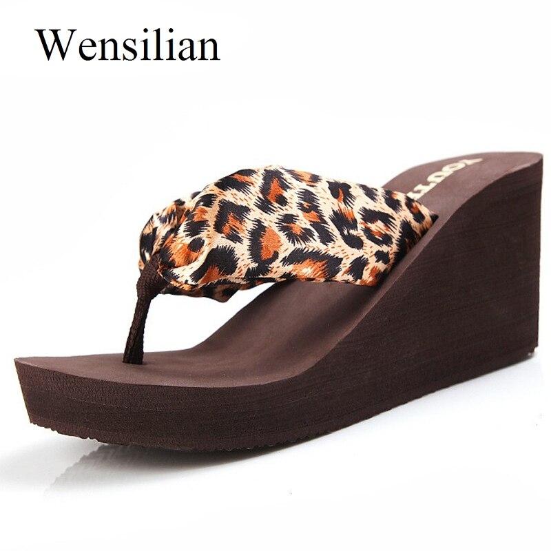 Designer Summer Slippers Leopard Women Wedge Flip Flops Platform Sandals Sexy 2018 Slides Women High Heel Shoes Zapatos Mujer все цены