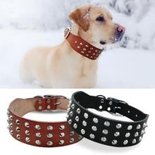 Fresco Remaches Tachonado Mejores Mascotas Collares de Perro de Cuero Genuino Para los Pequeños mediano Grande Perros Pitbull Boxer Bulldog Marrón Negro XS S M L