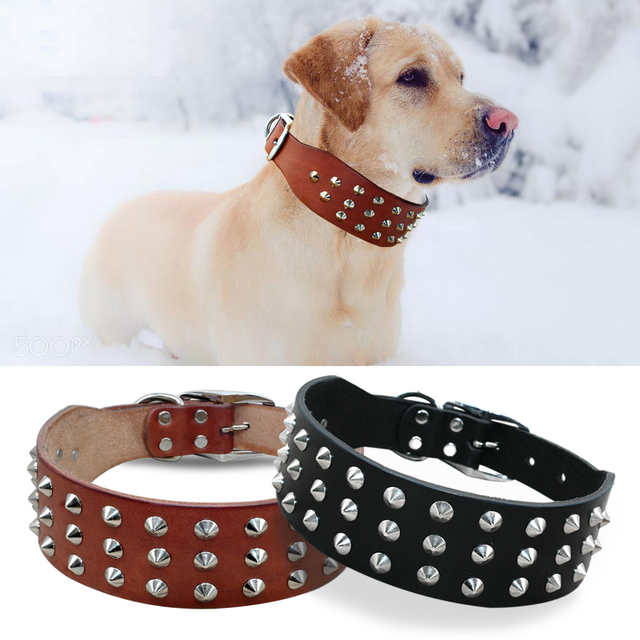 Cool Rivets Studded Best Genuine Leather Pet Dog Collars For Small Medium  Large Dogs Black Brown Boxer Bulldog Pitbull XS S M L-in Collars from Home  ...