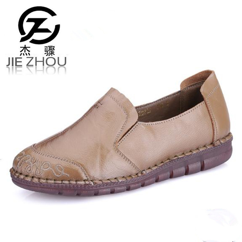 Casual real leather soft bottom women flat shoes Round head embroidery Purple black mom shoes zapatos mujer obuv large yards soft bottom flat ballerina shoes retro embroidery women shoes comfortable soft bottom casual shoes female ayakkab