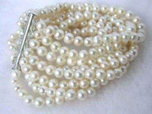 charming 8 rows 6mm white fresh water pearl bracelet 7 5 7 8 inch word mujer