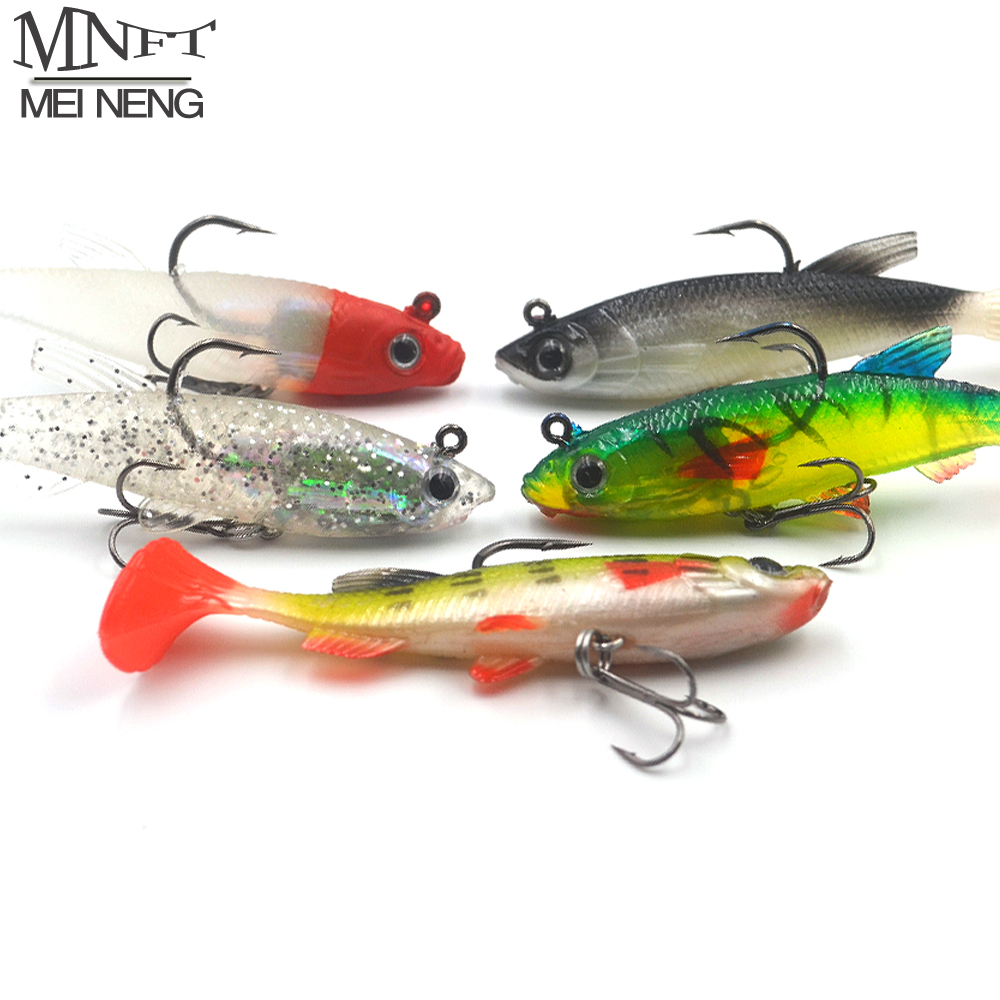 MNFT 5Pcs/Lot Soft Bait Lead Head 8cm/13g Artificial Lures Treble Hooks Wobbler Rubber Bass Lure Carp Fishing Accessories