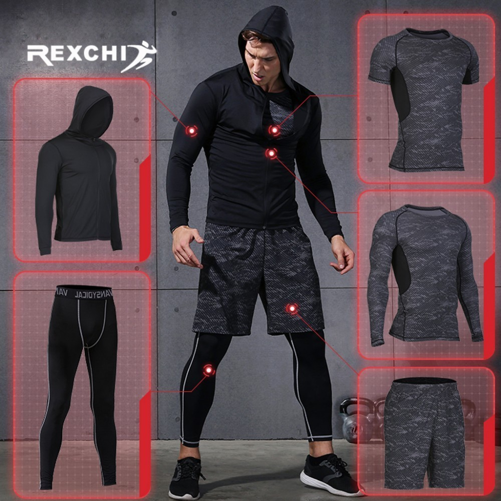REXCHI 5 Pcs/Set Men's Tracksuit Sports Suit Gym Fitness Compression Clothes Running Jogging Sport Wear Exercise Workout Tights