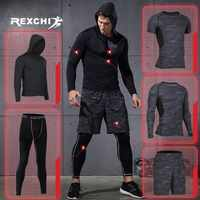 REXCHI 5 unids/set chándal para hombre, traje deportivo, ropa de compresión para gimnasio, ropa para correr, ropa deportiva, mallas de ejercicio