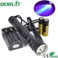 Boruit XPE LED Linterna Antorcha de Buceo Bajo El Agua 50 m UV Escorpión Caza Que Acampa Portable Luz de Flash + Batería + cargador