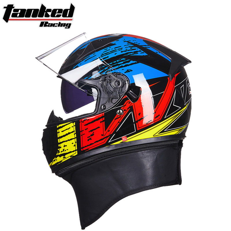 2017 Winter New Germay Tanked Racing Double lens Motorcycle Helmet ABS Full Face motorbike helmets with scarf and PC Lens visor 2017 new knight protection gxt flip up motorcycle helmet g902 undrape face motorbike helmets made of abs and anti fogging lens