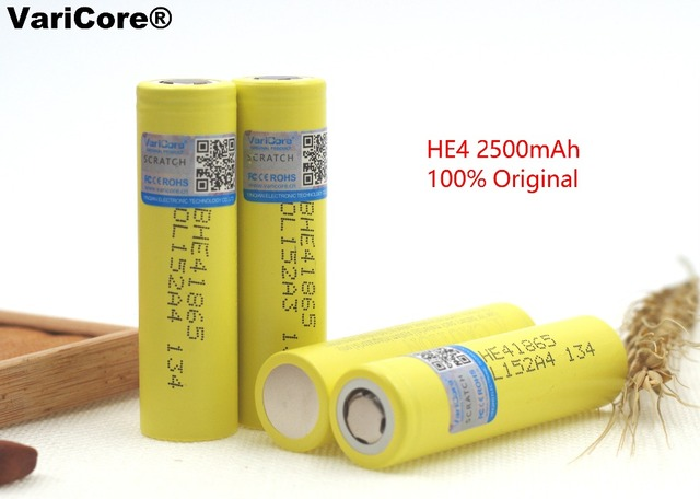 4pcs/lot Original 18650 3.7V 2500mAh HE4 Rechargeable battery Max 20A 35A discharge For LG Electronic cigarette batteries