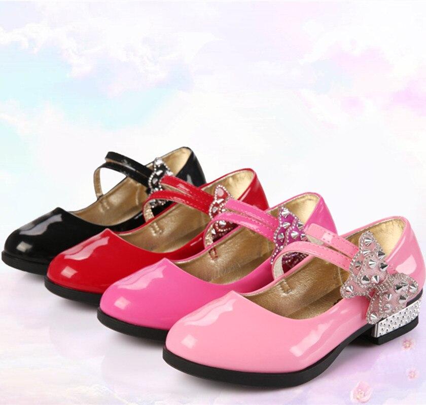 Kids Shoes Rhinestone Wedding Party Pink Girls Leather Black Baby-Girls Children Red