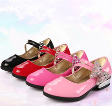 Red Black Pink bows Rhinestone Girls Leather Shoes Children Kids Shoes Baby Girls shoes for Wedding Party 5 6 7 8 9 10 11-14T rose pink red orange children princess shoes baby girls shoes kids bows rhinestone girls leather shoes kids party shoes 3 15t