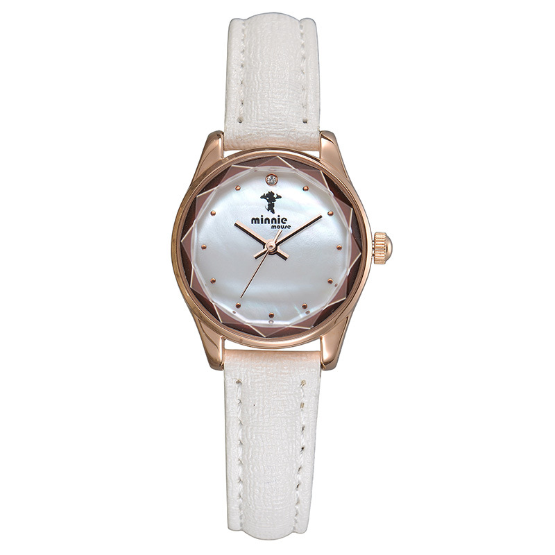 Disney brand minni mouse white leather quartz watch for womens casual waterproof ladies clocks red blue black band original box