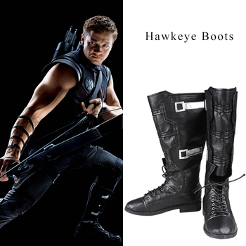 Occhio di falco Clinton Francis Barton Cosplay Stivali Hot Movie The Avengers Cosplay Scarpe Da Uomo di Alta Stivali Comic Accessori Nero