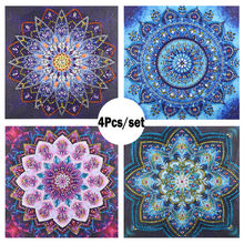 4Pcs/Set Special Shaped Diamond Painting flower DIY 5D Partial Drill Cross Stitch Kits Crystal Rhinestone Arts wall decor Mosaic(China)
