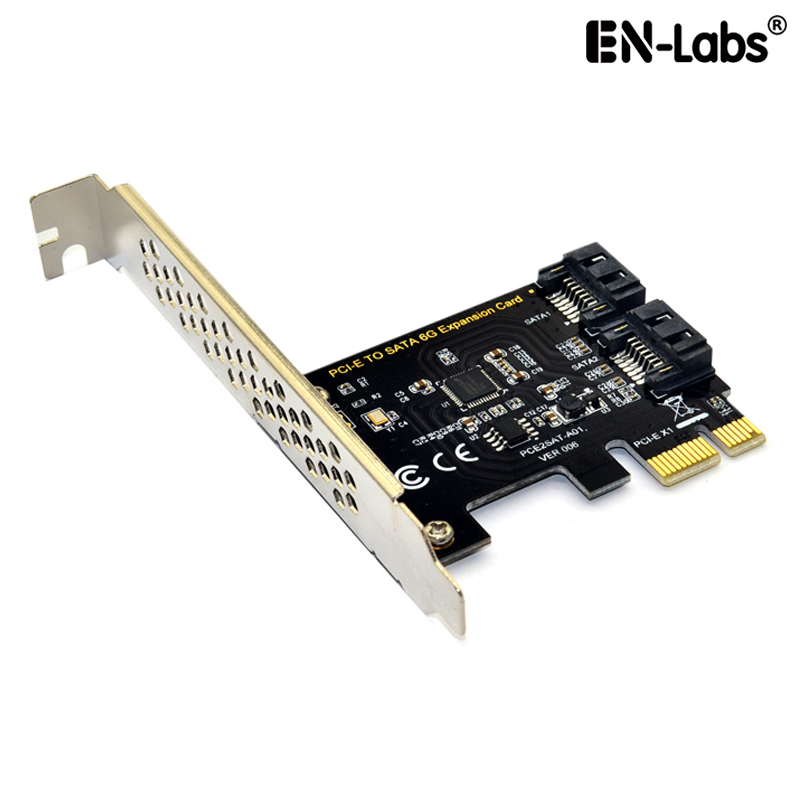 PCIe X1 To 2 X SATA 6G (HDD/SSD) W/ Standard Profile Bracket,ASM1061 Chipset PCI-Express To Dual SATA III Ports 6GB/s Expansion