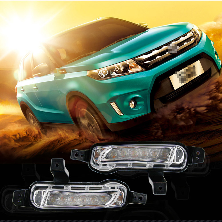 For Suzuki Vitara 2pcs LED DRL Daytime Running Lights with Yellow Turning Signal