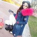 Abrigo de invierno Chaqueta De Piel Larga de Las Mujeres 2016 de piel de mapache de Imitación Forradas de piel de Mezclilla Vaqueros Líneas Parka de Piel de Invierno Mujer Con Capucha abrigo