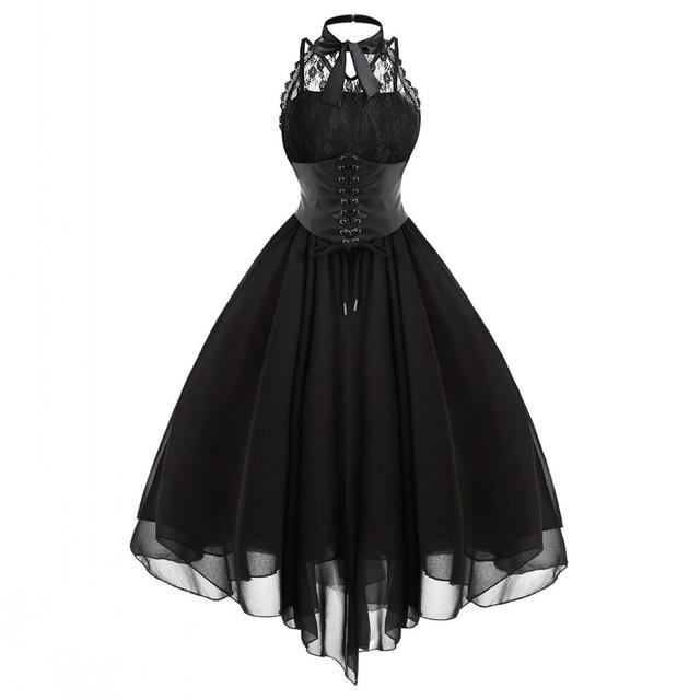 29a4fc5ef2e 2019 Gothic Bow Party Dress Women Vintage Black Sleeveless Cross Back Lace  Panel Corset Swing Dress Robe Vestidos Femme