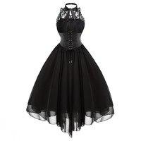 2019 Gothic Bow Party Dress Women Vintage Black Sleeveless Cross Back Lace Panel Corset Swing Dress Robe Vestidos Femme