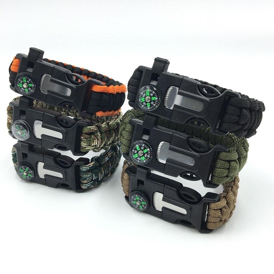Men's Paracord Survival Bracelet Kits 550 Parachute Cord Wristband Emergency Rescue Rope Flint Fire Starter Whistle Compass Kit