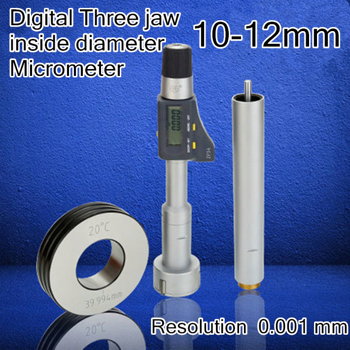10 12mm Resolution 0 001 mm Digital display Three jaw inside diameter micrometer High quality measurement
