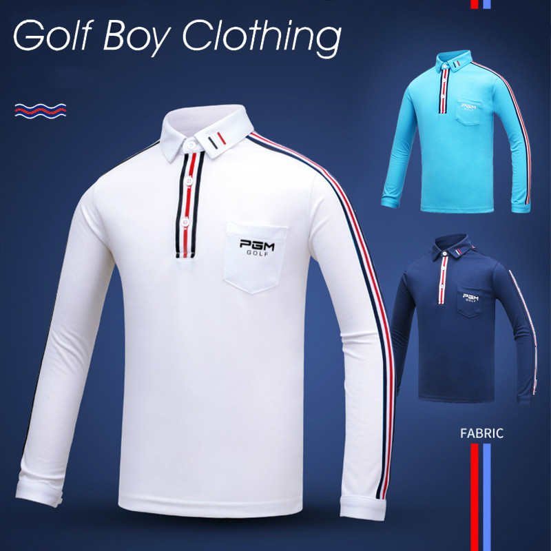 Golf wear childrens long sleeved T-shirt boys elastic fabric thermal clothing sports fabric