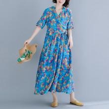 Summer Dress 2019 Ladies Vintage Short Sleeve Dresses Woman Floral Print Women Cotton Linen Party