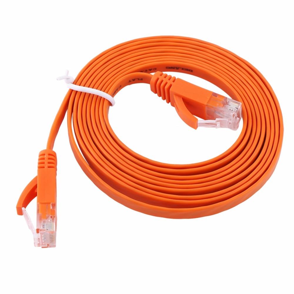 #2881 Pur fil de cuivre CAT6 Plat UTP Ethernet Réseau Câble RJ45 Patch LAN câble noir/blanc/orange color-3m