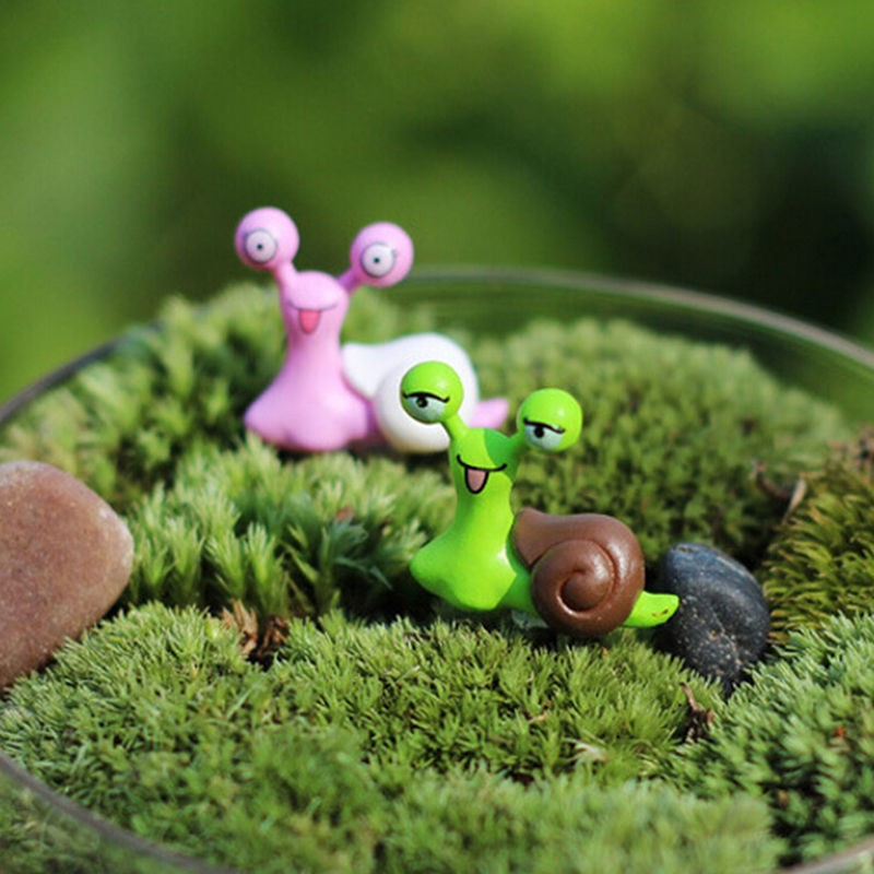 1X Miniatur Schnecke Fee Garten Dollhouse Bonsai Figurine Dekor Ornament ^
