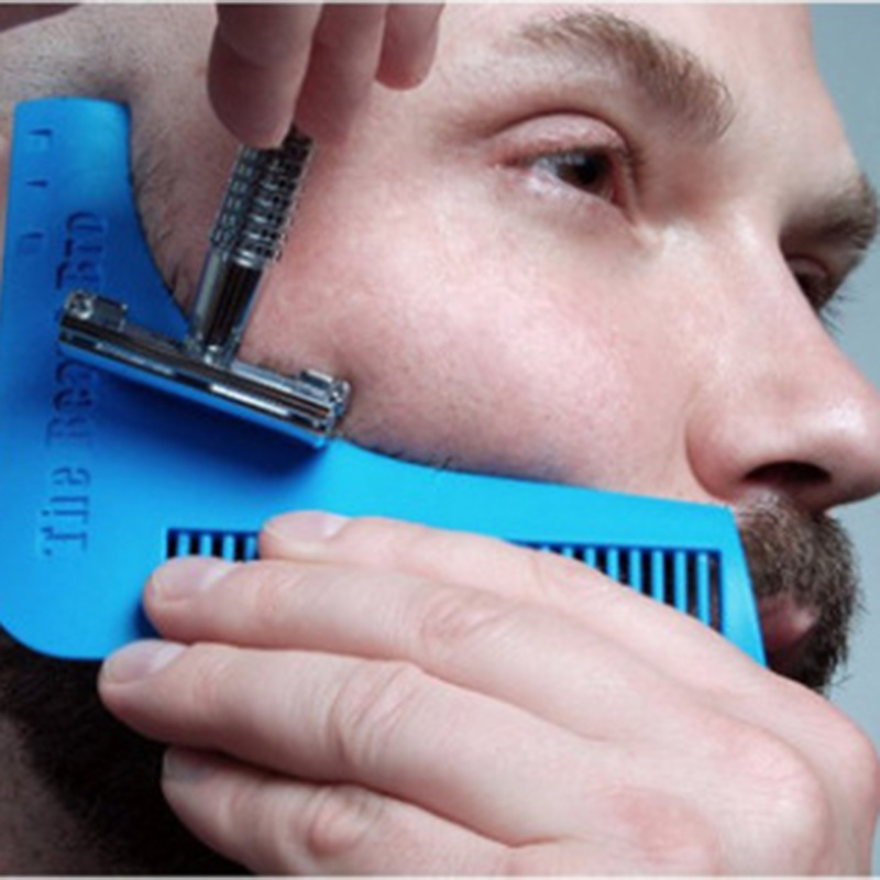 Mens Facial Hair Beard Shaper Mold Plastic Guide Template Brush Combs Lines Symmetry Trim Shaping Barber Salon Styling Tool 29