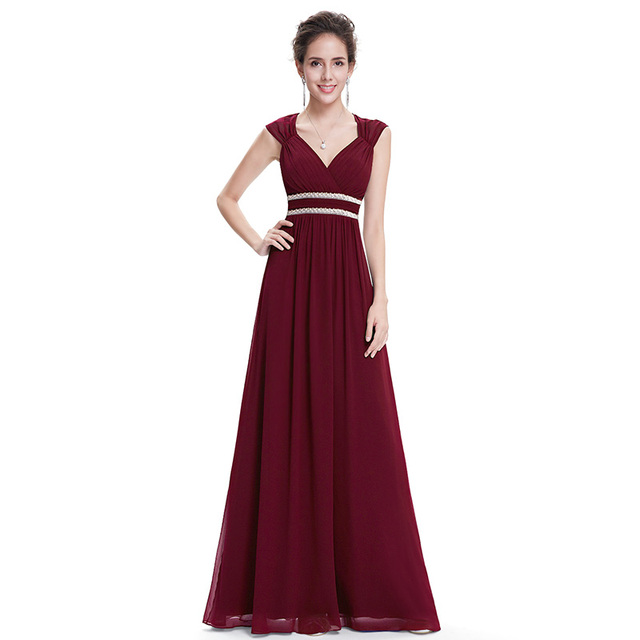 Plus Size Elegant V Neck Long Evening Dress EB27968 2020 Cheap Chiffon Party Gowns Ruched Beading Empire Hollow Out Formal Dress