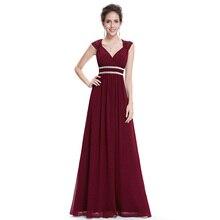 בתוספת גודל אלגנטי V צוואר ארוך שמלת ערב EB27968 2020 זול שיפון המפלגה Ruched ואגלי אימפריה חלול את לבוש הרשמי