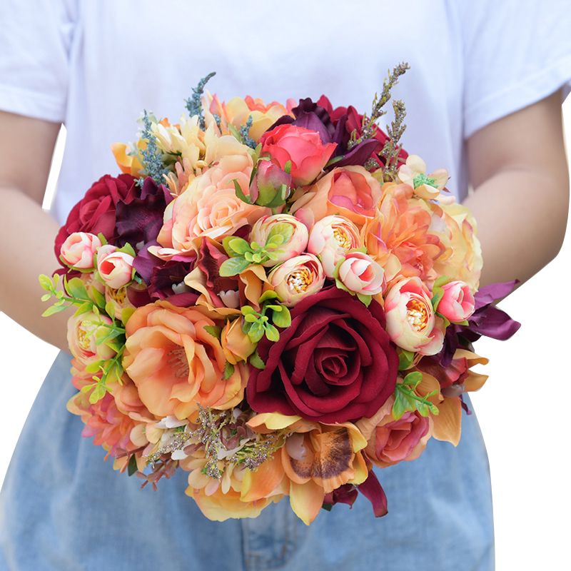 2 -   Romantic Synthetic Wedding ceremony Bouquets Flower 2018 Boutonnieres for Groomsman Man Go well with Bridemaid Wrist Corsage Wedding ceremony Equipment HTB1L5B7fBDH8KJjSszcq6zDTFXak
