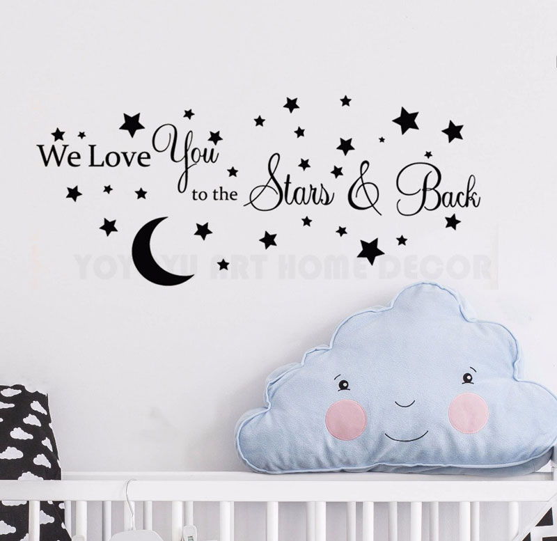 Customizable Name Stars Moon Theme Wall Stickers Boys Girls Childrens Room Bedroom Vinyl Home Decor ER32