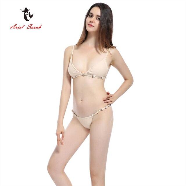 726c7a44ebfe13 Ariel Sara Merk 2017 Zomer Bikini Set Badmode Vrouwen Shell Sexy Bikini Pak  Effen Kleur Badpak
