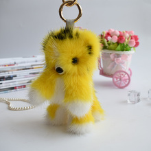 2017 Genuine mink Fur Keychain fashion Soft Fur tiger Key ring bag Pendant gift car pendant car accessories key rings