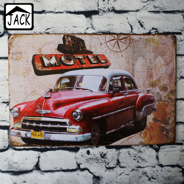 Red Retro Car Vintage Poster Metal Tin Signs 20x30cm Iron Plate Wall Decor Plaque Club Home
