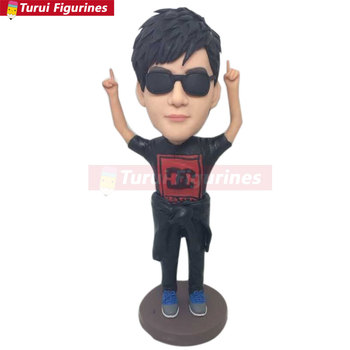 Bobble Head Clay Figurine Personalized Valentine Boyfriend Gift Based on Customers' Photos Using As Birthday Cake Topper, Gift,