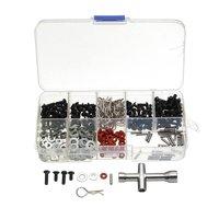 270 stücke Flache Kopf Schrauben + N3/4 Flache Washer mit Hexagon Schlüssel Box Spezielle Reparatur Tool Kit Für 1/10 HSP RC Auto Zubehör