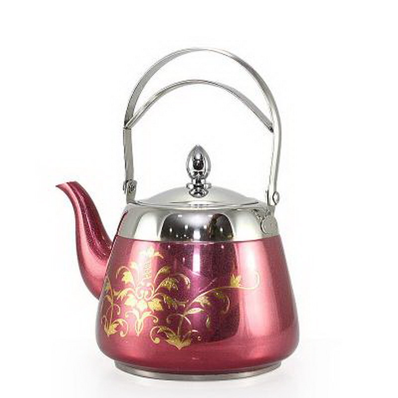 With Tea Filter Stainless Steel Water Kettle Flower Pattern Palace Tea Pot Thicker Bottom Kung Fu Tea Kettle Coffee Pot