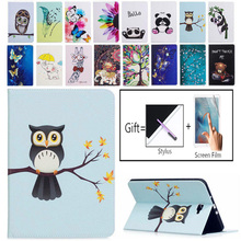 Tablet Case For Samsung Galaxy Tab A A6 10.1 2016 SM-T580 T585 T580 T585N Smart Cover Funda Cartoon Owl PU Leather Skin + film mtt flamingo case for samsung galaxy tab a a6 10 1 inch fold flip pu leather tablet case cover 2016 t580 t585 t580n t585n funda