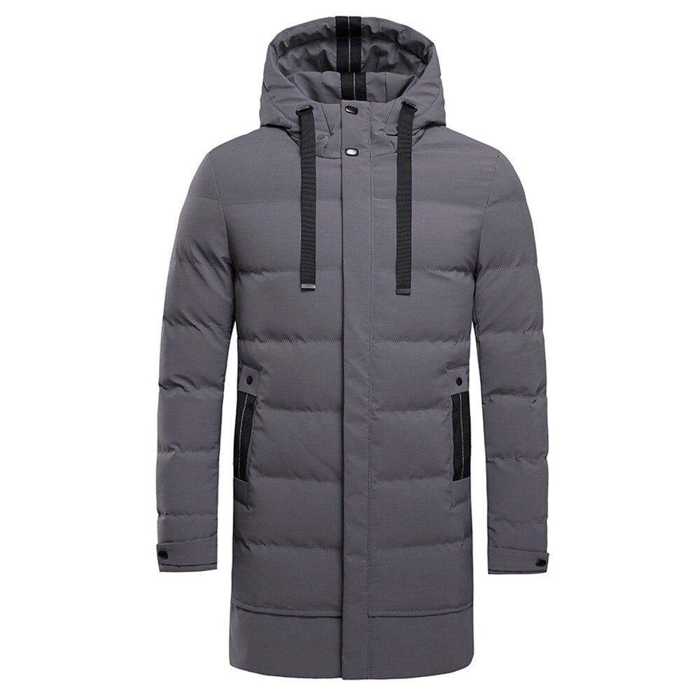 Erkek Kıyafeti'ten Parkalar'de 2018 Kış Erkek Yeni Uzun Rahat Kapşonlu Kalın Pamuk Parkas Ceket Erkekler Rahat Düz Cepler Dış Giyim Sıcak Ceketler parka ceket Erkekler'da  Grup 1