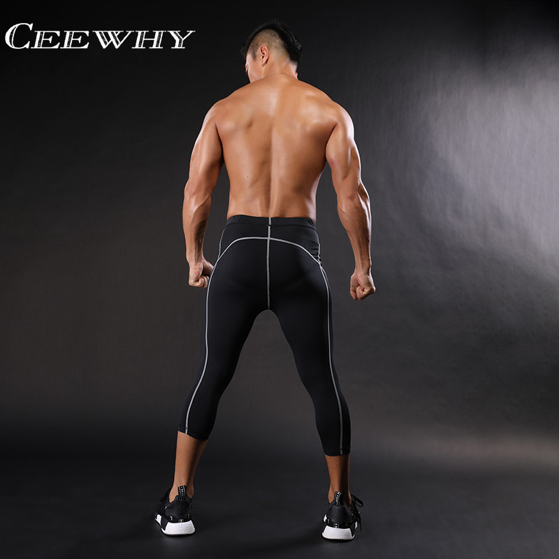 ccb2016fc0 CEEWHY Three Quarter Skinny Sweatpants Men Compression Pants Leggings  Bodybuilding Fitness Pants Elastic Trousers Quick Drying-in Sweatpants from  Men's ...