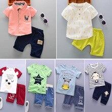 цена на Baby Boys Clothes Set T-Shirt Short Pants 2 Pcs Suits Summer Children Clothing Boys Clothes Kids Cotton Comfortable Cartoon Sets