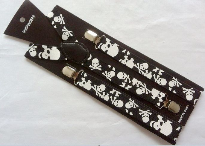 Free Shipping 2019 Hot Sale 2.5 CM Wide Adjustable Clips On Braces Skull Printed Elastic Suspenders For Women And Men
