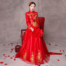 New peacock pattern Chinese traditional dress Classical Wedding long elegant Red wedding Oriental Traditional Cheongsam