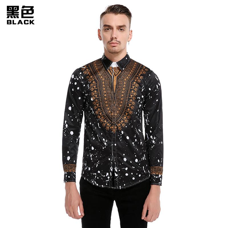 ип. ОО для мужчин; повседневная рубашка с длинным рукавом золотой модные принты тонкий пряжка с лацканами готовые жесткая-воротником в африканском стиле плюс размеры рубашка