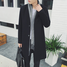 2016's temperament collarless long winter coat in French front man W879 P120