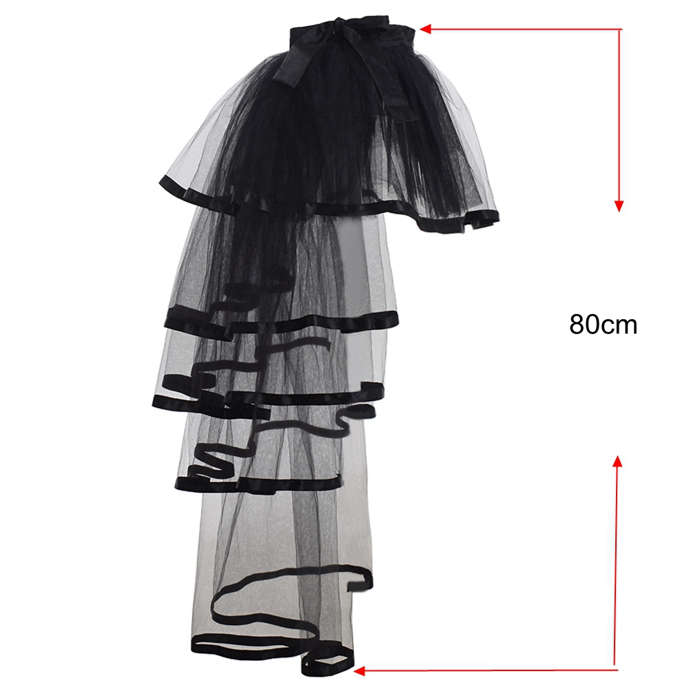 Women Mesh Tulle Bustle Skirt Steampunk Victorian Party Tutu Ruffle Tiered Skirts Dance Stage Performance Clubwear in Skirts from Women 39 s Clothing